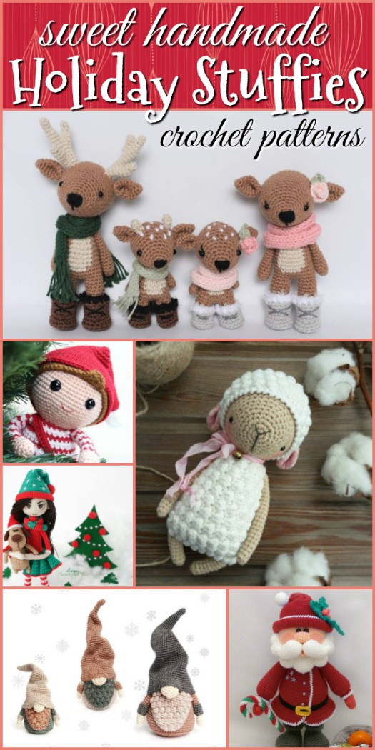 Adorable crochet patterns for Christmas holiday amigurumi crochet patterns. Stuffed toys are a great handmade gift idea! Get started today! #crochet #patterns #amigurumi #holiday #christmas #stuffies #toys #handmade #gift #ideas #yarn #crafts #craftevangelist
