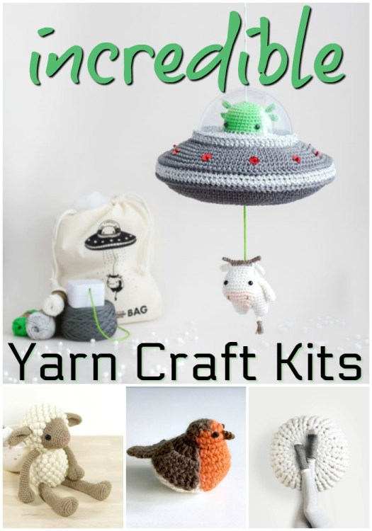 Check out these awesome yarn crafts kits! I love this flying saucer kit! Amazing! #crochet #knit #crafts #yarn #kits #patternkits #amigurumi