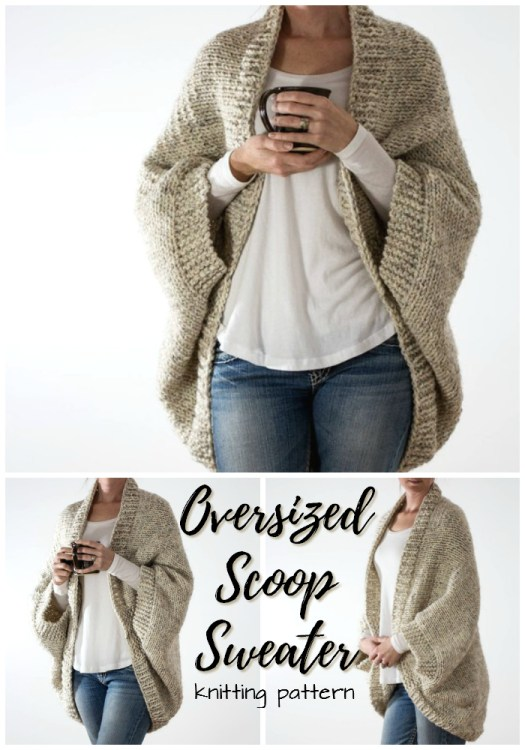 This simple knitting pattern for an oversized scoop sweater looks so easy and warm for the fall/winter season ahead! Love this cozy look! #knit #pattern #knitting #yarn #crafts #sweater #cardigan #cocoon #scoop #cozy #craftevangelist