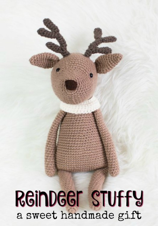 Super-cute little deer stuffy, perfect crocheted amigurumi toy for a child's special Christmas gift! Love this! Or find some patterns to make your own! #crochet #handmadegifts #handmade #yarn #amigurumi #stuffy #toy #childgiftideas #giftideas #craftevangelist