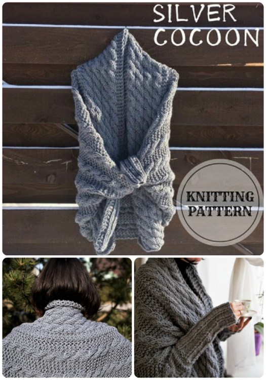 I love this gorgeous cable-knit chunky knitting pattern for this Silver Cocoon cardigan. Looks so cozy for the office! #knit #pattern #knitting #sweater #cardigan #yarn #crafts #craftevangelist