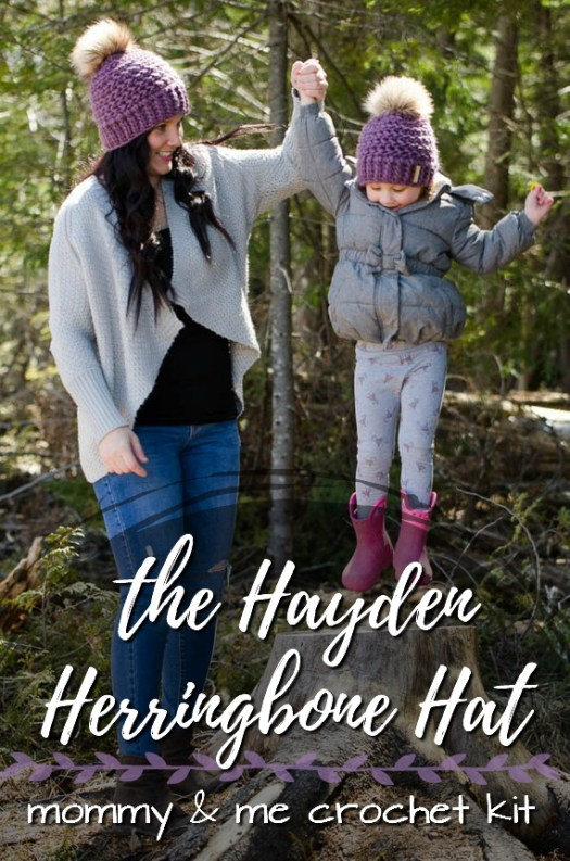 Sweet mommy and me crochet hat pattern kit for The Hayden Herringbone Hat! Lovely gift for a new mom who wants to learn to crochet! #crochet #hat #mommyandme #pattern #kit #toque #beanie #giftidea #crafts #yarn #craftevangelist