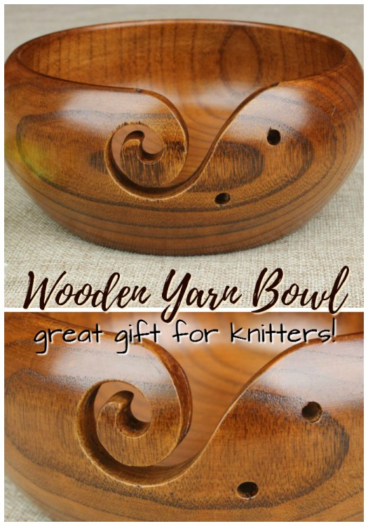 Beautiful wooden yarn bowl! Such a lovely gift idea for a knitter! Gorgeous! #giftsforknitters #giftideas #knitters #handcarved #wooden #yarnbowl #craftevangelist