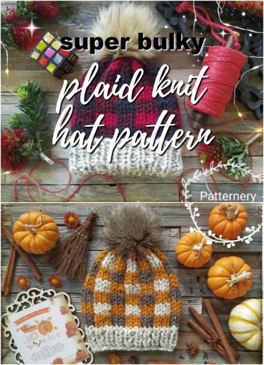 super bulking plaid hat knitting pattern! Look at the options to make it in different colours! Great idea! #knit #pattern #hat #beanie #toque #winter #christmas #handmadegiftidea #yarn #crafts #craftevangelist