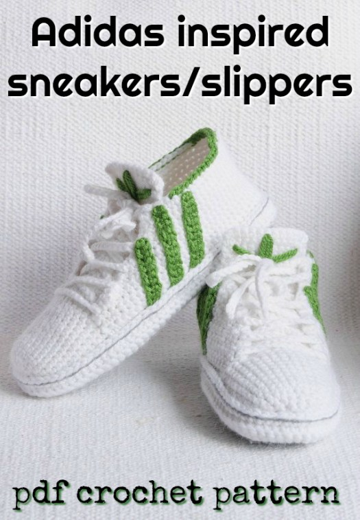 Adidas inspired sneakers/slippers pattern. You can wear them just as slippers or you can add a sole and wear them outside! How cool is that? My husband would love these! #slippers #crochet #pattern #adidas #sneakers #giftsforhusbands #giftsformen #handmadegiftsformen #yarn #crafts #winterprojects #craftevangelist