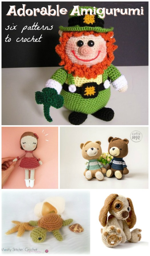 Six adorable amigurumi crochet patterns to make! I love the super sweet teddy bear pattern! #amigurumi #crochet #pattern #toy #stuffy #handmadegiftidea #yarn #crafts #craftevangelist