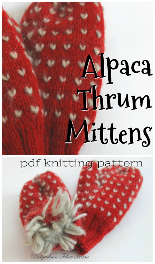 Fuzzy and WARM Alpaca Thrum Mittens knitting pattern! I've always wanted a pair of these! They look soooooo warm! #mittens #knitting #pattern #yarn #wool #roving #crafts #craftevangelist