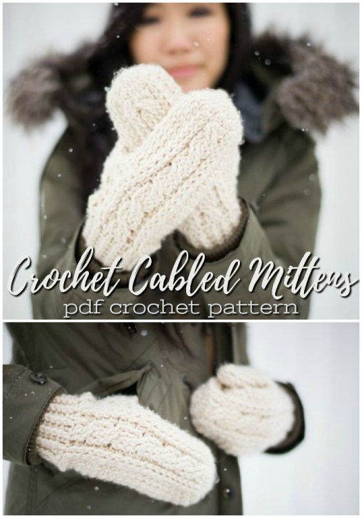 Lovely crocheted cabled mittens! I love that there's a cabled stitch for crocheters! So pretty! #crochet #cable #mittens #pattern #allaboutami #yarn #crafts #craftevangelist