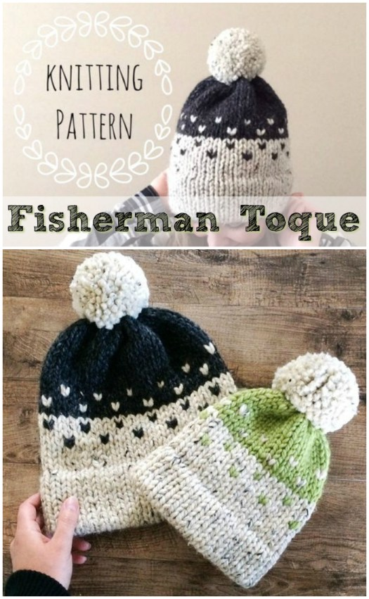Lovely little design on this Fisherman Toque knitting pattern with double brim knit brim. Looks so nice in a chunky/bulky yarn! #knit #knitting #pattern #beanie #toque #hat #doublebrim #craftevangelist