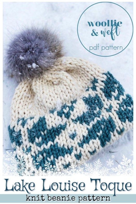 The Lake Louise Toque has a lovely colourwork pattern with a fold over double brim stockinette stitch brim. Knits up quickly. Good project to learn provisional cast on and double brim. #knit #knitting #pattern #beanie #toque #hat #doublebrim #craftevangelist