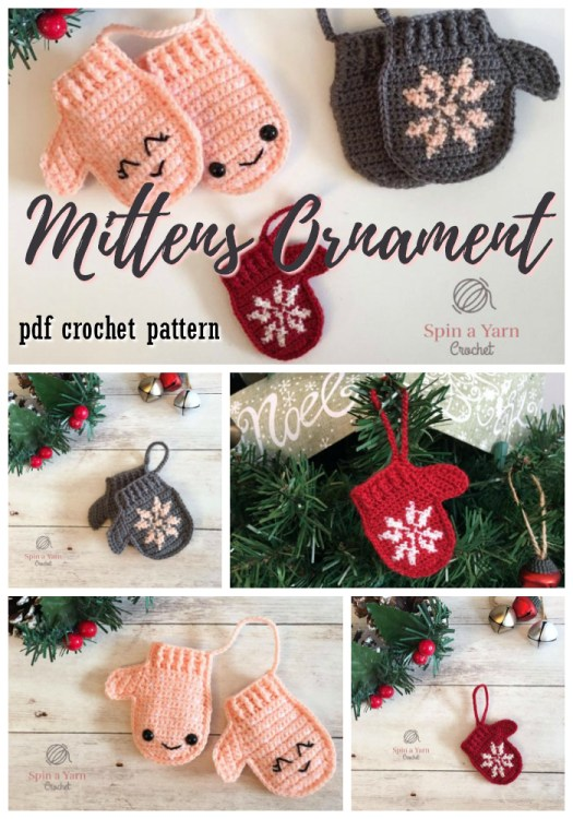 Super cute mittens ornament crochet pattern! These little tree ornaments make perfect last minute gift ideas that work up quickly. Lovely coworker gifts! #handmadegifts #handmade #crochet #pattern #amigurumi #kawaii #mittens #ornament #christmas #coworkergift #yarn #crafts #craftevangelist