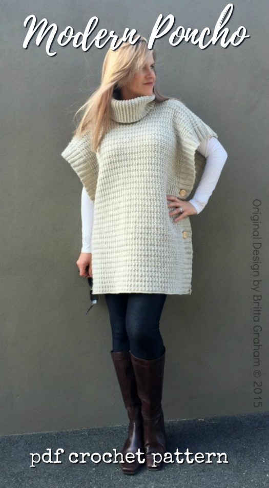Lovely modern poncho crochet pattern for this simple smock poncho. I love the buttons up the side. Nice project to work on over christmas break! #crochet #pattern #poncho #women #crafts #yarn #crochetforwomen #turtleneck #craftevangelist