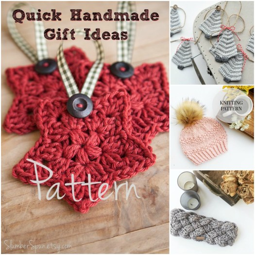 Super fast handmade gifts to knit and crochet! Pick up a pattern and get to work today and you can have beautiful handmade gifts to give!