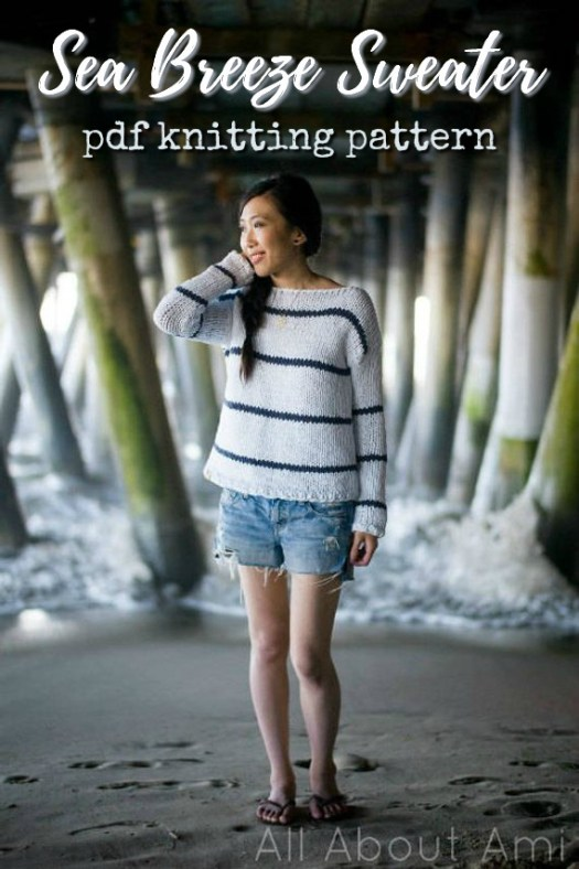 I love this breezy striped multi-season sweater knitting pattern! I need more stripes in my life! #knitting #pattern #sweater #pullover #jumper #yarn #crafts #knit #craftevangelist