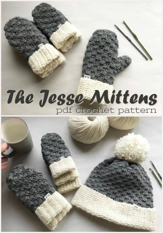 The Jesse Mittens crochet pattern. This designer also has a matching hat pattern for these easy crocheted mittens pattern! Perfect for a beginner! #crochet #beginnercrochet #easycrochet #pattern #yarn #mittens #crafts #craftevangelist