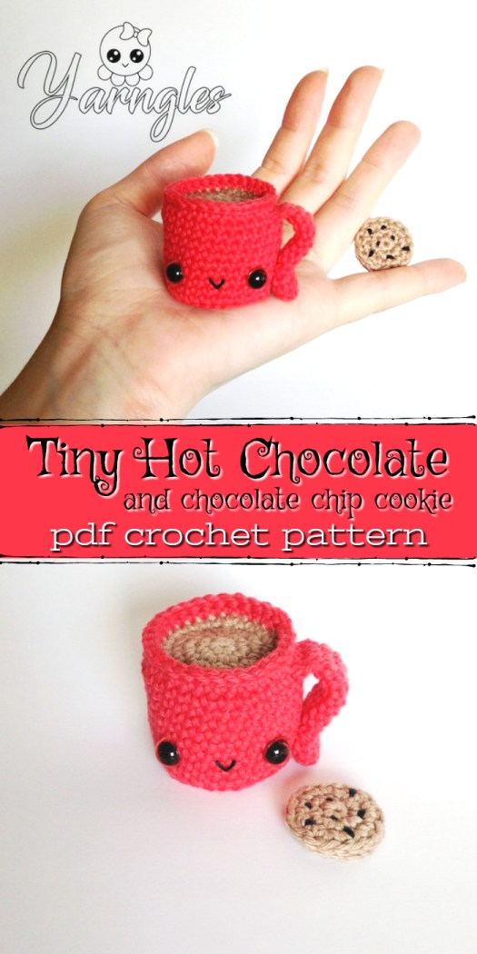 This adorable amigurumi crochet pattern for a mug of hot chocolate and a super tiny crocheted cookie is soooooo cute! Would make a fun quick to make Christmas gift! #crochet #amigurumi #pattern #tiny #yarn #crafts #handmadegifts #craftevangelist