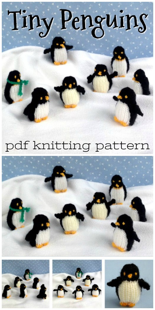 Adorable little tiny stuffed penguins! And they're knitted! So cute! What a great little Christmas ornament idea! So unique! #knitting #pattern #amigurumi #stuffedtoy #handmade #yarn #crafts #craftevangelist