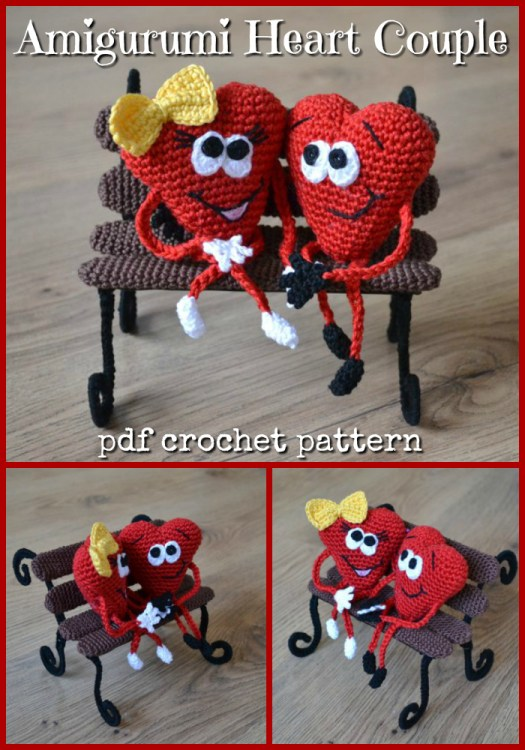 Adorable cartoon heart couple on a crocheted park bench! How sweet are these?! What a fun little gift idea! #crochet #pattern #amigurumi #hearts #valentinesday #valentinescrochet #crochetpattern #amigurumipattern #yarn #crafts #craftevangelist