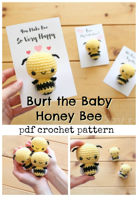 Adorable little honey bee crochet pattern would make sweet little valentines to give away to special loves in your life! I love this adorable little bee! #crochet #pattern #valentines #amigurumi #amigurumipattern #crochetpattern #yarn #crafts #craftevangelist