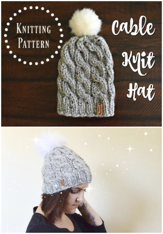Beautiful ans simple chunky cable knit beanie pattern. This slouchy toque knitting pattern comes in 4 sizes for adults and children. Love this! #knittingpattern #knitting #pattern #hat #beanie #toque #winterhat #diy #yarn #crafts #pdf #craftevangelist