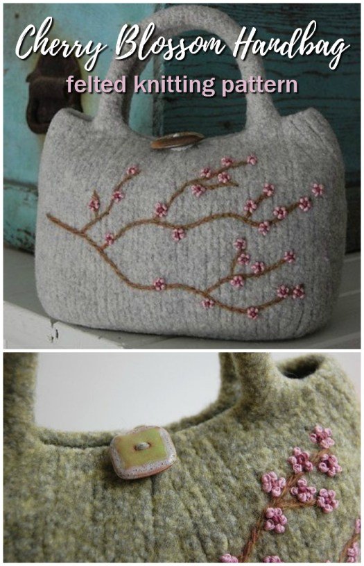 Gorgeous Cherry Blossom Handbag felted knit pattern. This looks so neat how you can't even see the stitches! What a fun idea! I'd love to learn how to felt! #knitting #pattern #felted #felting #handbag #handmade #yarn #crafts #purse #craftevangelist
