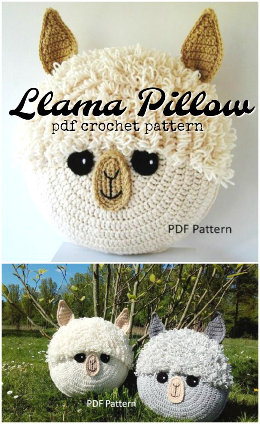 Adorable alpaca or llama pillow crochet pattern. These are so cute! #crochet #pattern #llama #alpaca #pillow #crochetpattern #decor #crafts #yarn #craftevangelist