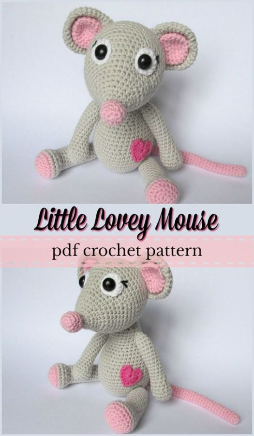 Adorable crocheted mouse amigurumi pattern. I love the sweet little heart on her belly. What a lovely little gift to make for your child for valentine's day. So cute! #crochet #pattern #amigurumi #amigurumipattern #crochetpattern #mouse #heart #valentinesday #yarn #crafts #craftevangelist