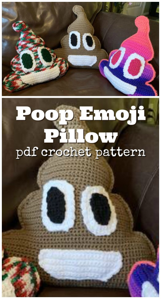 LOL Poop emoji crochet pillow pattern! My kid would love this! But I'm not sure I want one in my house! Hilarious, though! Fun handmade gift idea for a teen. #crochet #pattern #poopemoji #poop #crochetpillow #cushion #handmadepillows #teengift #handmadeteengift #crochetteengiftideas #crochetpattern #yarn #crafts #craftevangelist