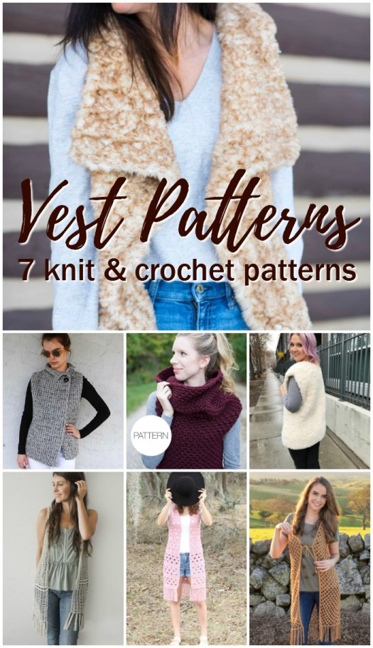 Sweet Vest Patterns to knit and crochet. Love the look of the faux fur vests! #knit #crochet #pattern #patternroundup #crochetpattern #knittingpattern #vests #diy #yarn #crafts #knitclothes #crochetclothes #knityourownclothes #crochetyourownclothes #knitforwomen #crochetforwomen #crochetforchange #knitforchange #craftevangelist