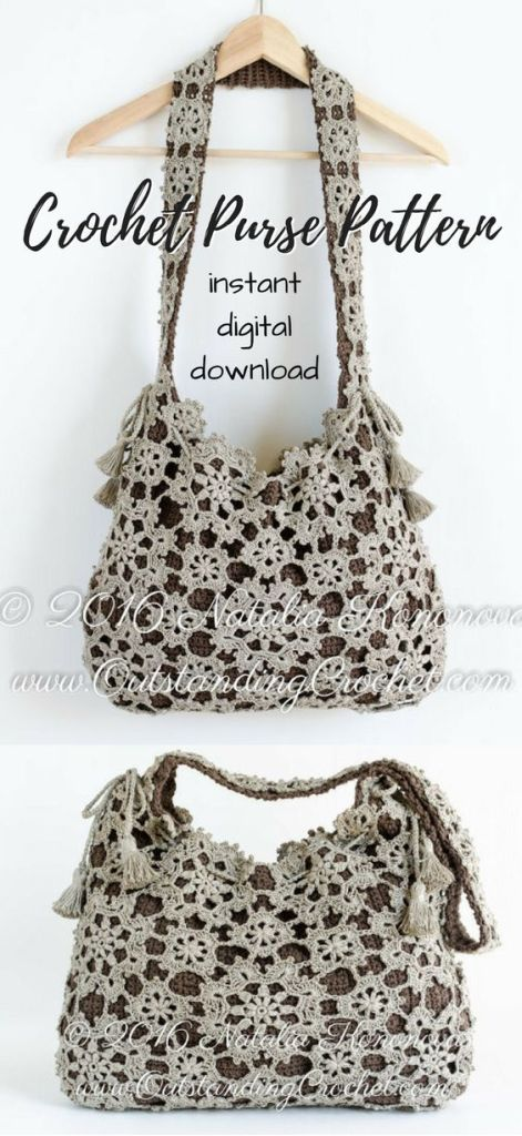 Beautiful crocheted lacy purse pattern! I love the floral motif on this gorgeous handbag crochet pattern! I need to make one of these now! So pretty! #crochet #pattern #handbag #purse #pdf #download #yarn #crafts #craftevangelist