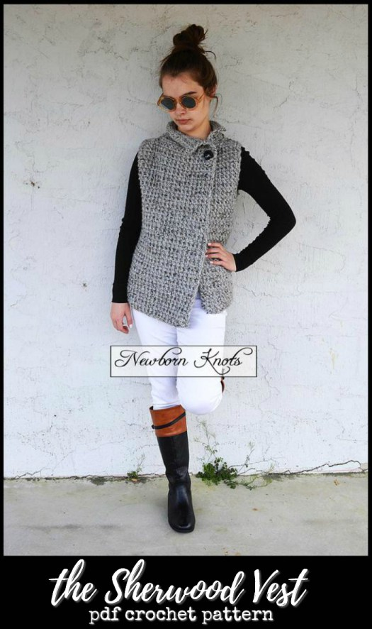 The Sherwood Vest asymmetrical crocheted vest pattern. I love how great this looks with a pair of boots. I love the big wooden button closure on top! #crochet #pattern #crochetpattern #crochetvest #yarn #crafts #diy #crochetyourownclothes #crochetforwomen #crochetforchange #craftevangelist