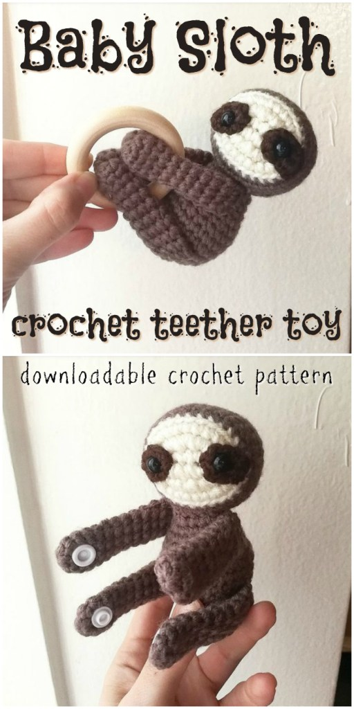 Adorable crochet pattern for this baby teether! Such a sweet little baby sloth! Perfect quick little gift idea! I love that it has snaps to hold the hands together! What a great idea! #crochet #amigurumi #pattern #crochetpattern #amigurumipattern #crochettoy #crochetforbaby #handmadetoy #crafts #yarn #craftevangelist