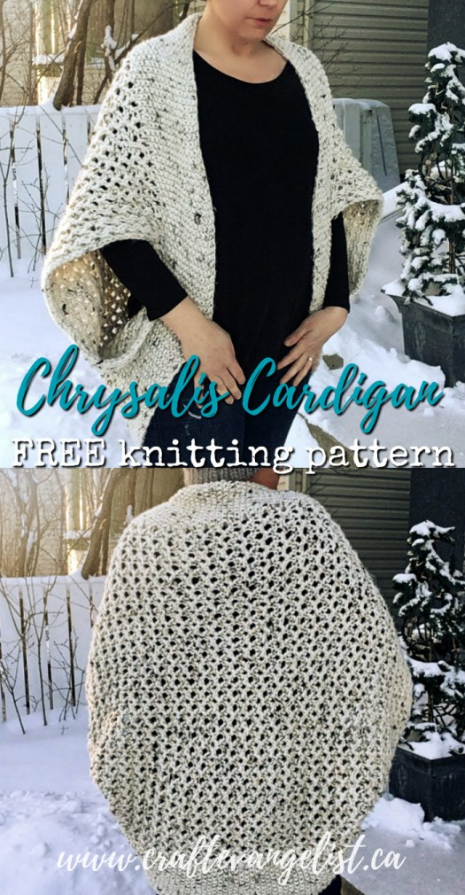 FREE knitting pattern for the Chrysalis Cardigan! It is designed with a provisional cast on, so it's completely seamless! No sewing! No weaving in a million ends! Love this style of cardigan! Perfect to keep warm in a chilly office. #knittingpattern #knitting #free #freepattern #freeknittingpattern #ChrysalisCardigan #onesize #seamlessknitting #knittingforwomen #craftevangelist