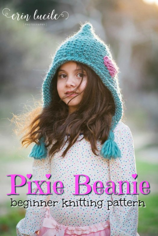 Sweet beginner knitting pattern for this heart-appliqued knit pixie beanie! Love the texture of this quick knit using super bulky yarn! So adorable! #knitting #pattern #knithat #valentines #beanie #knitbeanie #beaniepattern #yarn #crafts #craftevangelist #trueloveknits