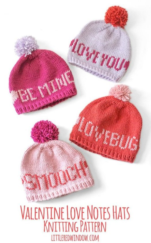 Check out these adorable love notes hats! You could make one of these in an evening or two! Perfect little handmade Valentine's Gift!