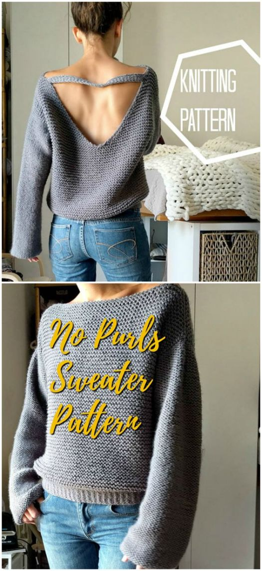 Gorgeous deep v-back sweater knitting pattern. Simple design with NO PURLS! all knit in stockinette! Easy and gorgeous sweater knitting pattern #knit #pattern #knittingpattern #knitting #yarn #crafts #sweater #beginnerpattern #craftevangelist