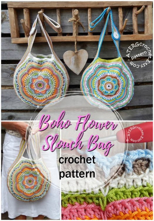 Fun boho flower slouch handbag crochet pattern, perfect for summer festivals and beach trips! Super casual and fun. Gorgeous pattern! #crochet #pattern #crochetpattern #yarn #crafts #handbags #handmade #craftevangelist