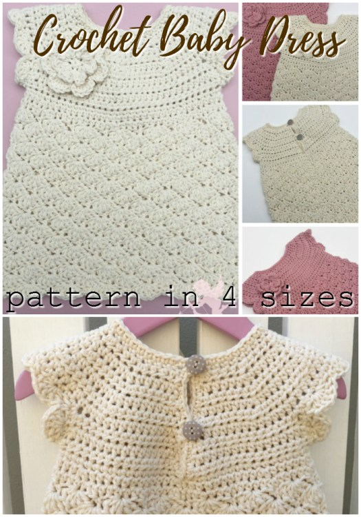 Sweet little shell stitch crochet pattern for this baby dress. Pattern comes in 4 sizes, perfect for baby shower gifts, baby christening outfit! Love this gorgeous little dress! #crochet #pattern #crochetpattern #baby #crochetforbaby #yarn #crafts #dress #babygifts #handmadebabygifts #craftevangelist