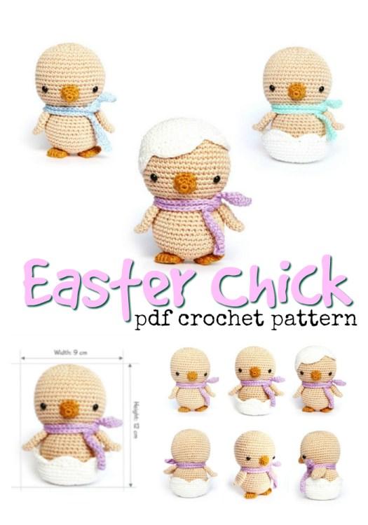 Cute Easter Chick crochet amigurumi pattern by Rokiki #crochet #pattern #amigirumi #yarn #crafts #amigurumipattern #crochetpattern #handmadetoys #craftevangelist
