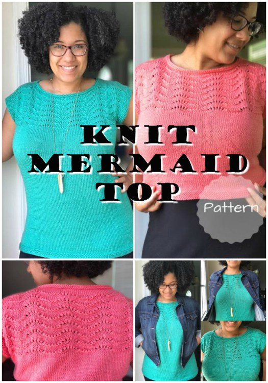 Super pretty mermaid knit top pattern bundle, with instructions for both a crop top or a full length top. Adorable for all sizes! #knitting #pattern #yarn #crafts #knittop #BIPOCdesigners #craftevangelist