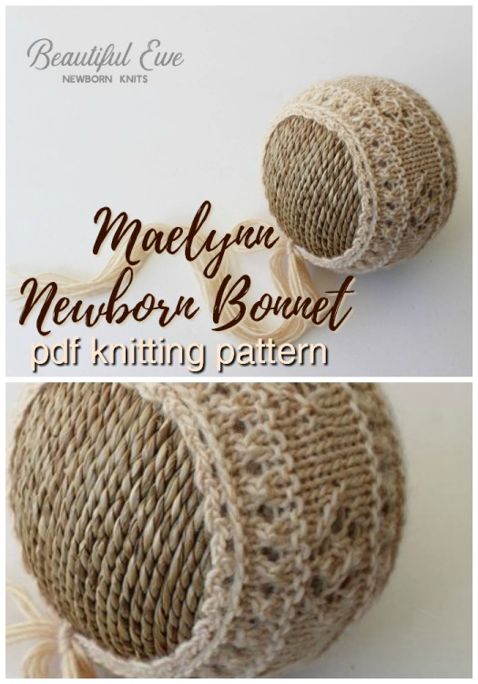 Super sweet pretty knitting pattern for this baby bonnet! Would make a great knit newborn hat photography prop! #yarn #crafts #knitting #pattern #knittingpattern #knitpattern #knit #hat #baby #newborn #photoprop #photographyprop #craftevangelist