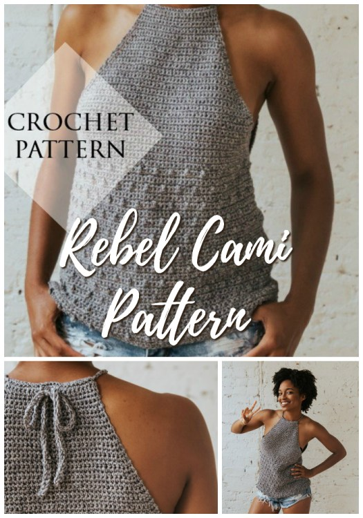 Rebel Cami tank top crochet pattern. I love this casual summer crochet top, perfect to pair with cut offs or jeans! #crochet #pattern #women #summer #tanktop #crochetpattern #yarn #crafts #BIPOCdesigners #craftevangelist