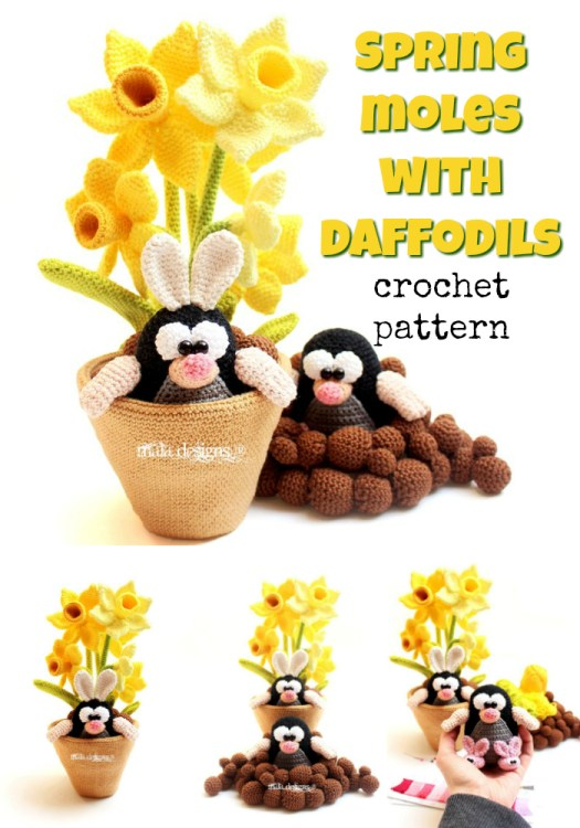 Adorable crochet pattern for spring moles with daffodils! Finally flowers I can't kill! So much fun! #crochet #pattern #amigurumi #yarn #crafts #crochetpattern #amigurumipattern #craftevangelist