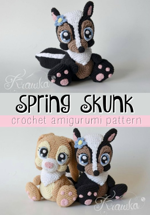 Adorable amigurumi pattern for this Skunk stuffed animal! Looks just like Flower the skunk from Disney's Bambi! #crochet #pattern #amigurumi #crochetedtoys #yarn #crafts #crochetpattern #craftevangelist