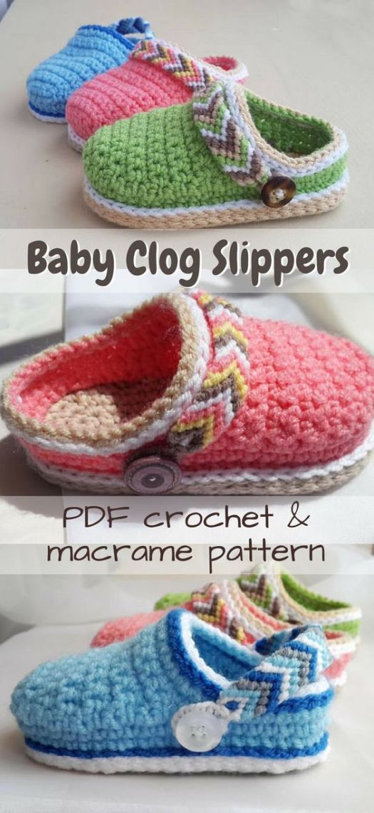 Adorable Baby Clogs! Such a sweet baby slipper pattern, mostly crocheted, but with a macrame (friendship bracelet-style) back strap! These are so fun; soft little handmade crocs! #yarn #crafts #crochet #pattern #crochetpattern #slippers #baby #babypatterns #crochetbabypatterns #craftevangelist