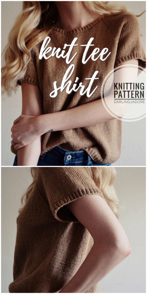 Super cute knit tee shirt knitting pattern for this short sleeved women's sweater! Perfect for spring! #knitting #pattern #tshirt #yarn #crafts #craftevangelist