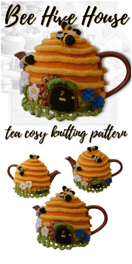 Knitting pattern for this super cute Bee Hive House tea cosy! How sweet is this adorable tea cozy?! Perfect handmade gift for a tea drinker! #knitting #pattern #teacosy #teacosy #yarn #crafts #knittingpattern #craftevangelist