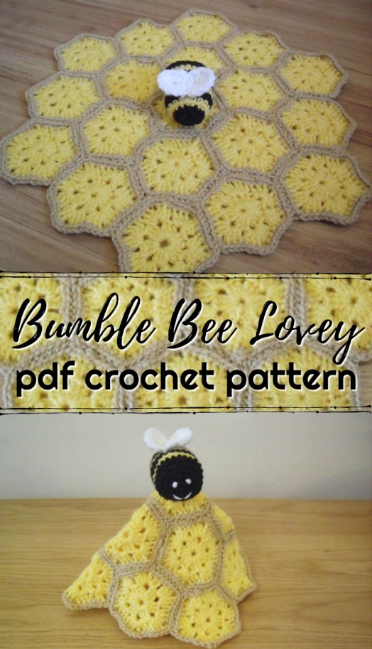 Little Bumble Bee Lovey Crochet Pattern. Cute little granny square hexagonal blanket pattern with adorable amigurumi bumble bee on top! Super sweet! #crochetpattern #crochet #pattern #yarn #crafts #bee #amigurumi #blanket #craftevangelist