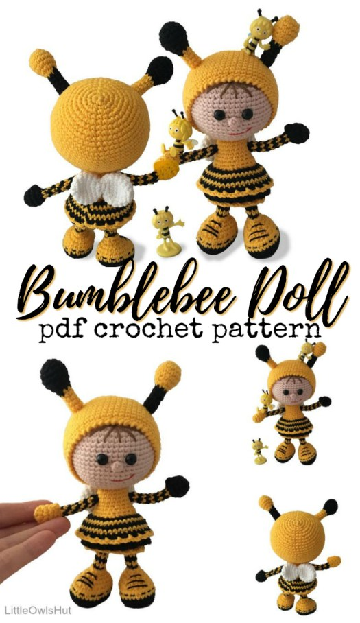 Love this adorable amigurumi crochet pattern for this bumblebee doll! What a sweet little dress and don't you just adore her shoes?! #crochetpattern #amigurumipattern #amigurumi #crochet #pattern #bee #toy #yarn #crafts #doll #amigurumidoll #craftevangelist