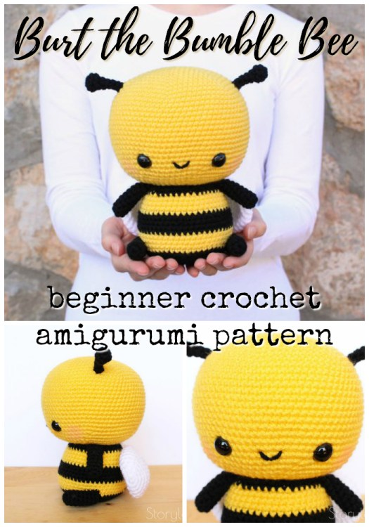 Adorable crochet pattern for this cuddle-size amigurumi bumble bee stuffed toy. Perfect easy beginner crochet pattern for your first amigurumi project. Love this cute bee! #crochet #amigurumi #crochetpattern #amigurumipattern #pattern #yarn #crafts #bumblebee #craftevangelist